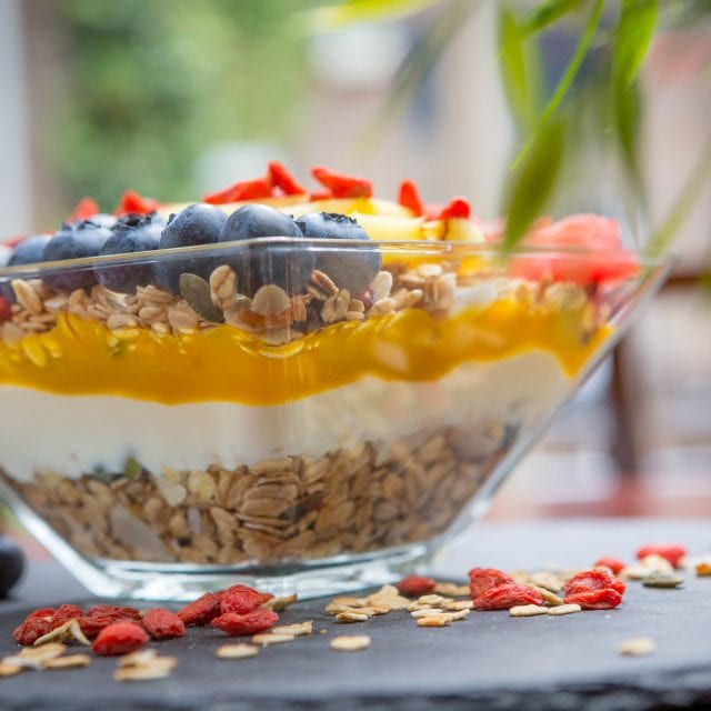 Vitality Breakfast Granola bowl served at Clayton Hotel Charlemont