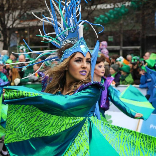 performer in St Patricks Day parade