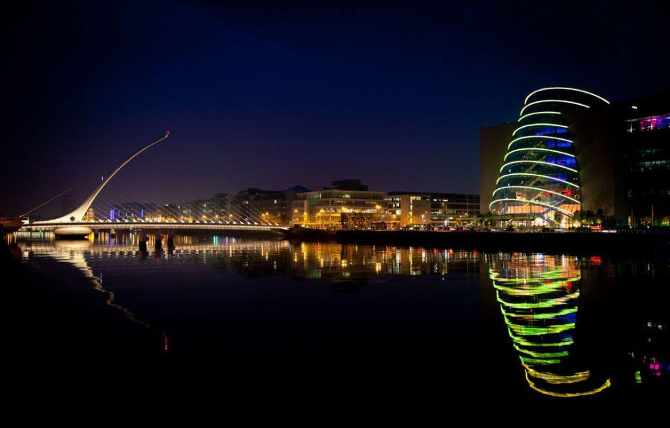 Samuel Beckett Bridge and Convention Center Dublin by night