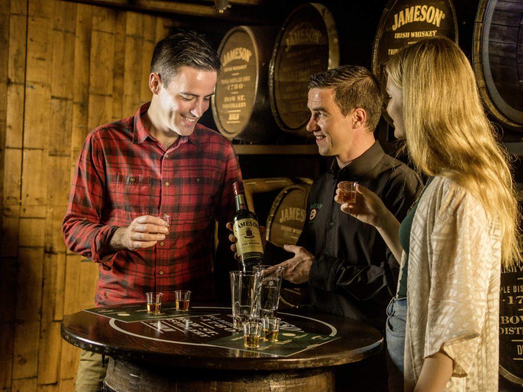 Couple whiskey tasting